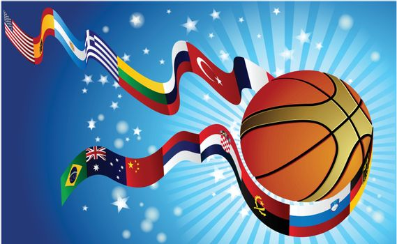 International Basketball World top rangking whit flags