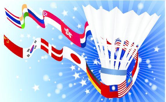 International Badminton World top rangking whit flags
