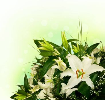 bouquet of lilies and green leaves with copyspace