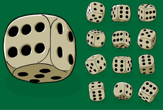 Set of old dices on green - vector illustration