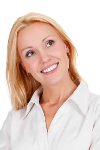 woman in cheerful mood smiling