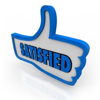 Satisfied Word on Blue Thumb Pleased Thumbs Up