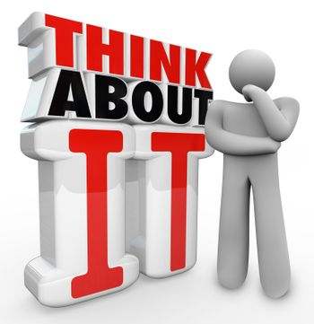 Think About It Thinker Person Standing By Words