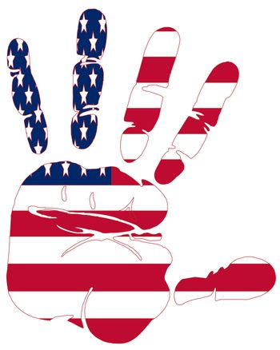 Hand print of American flag colors