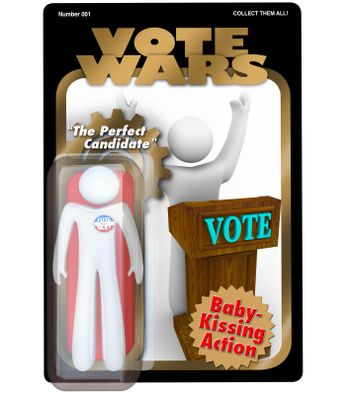 Political Candidate Action Figure Vote in Election Campaign
