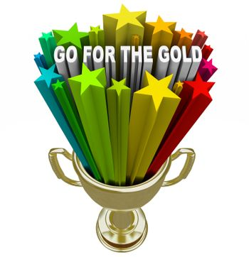 Go for the Gold Trophy Positive Attitude and Ambition