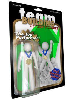 Top Performer Employee Action Figure Man in Package