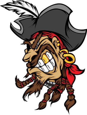 Pirate Mascot with Hat Cartoon Vector Image