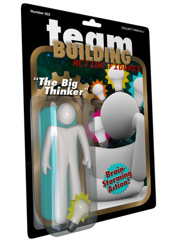 Big Thinker Action Figure Man Thinking of Ideas for Success