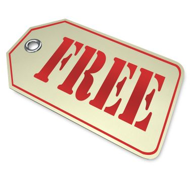 A price tag with the word Free on it, representing a complimentary item in a discount sale or clearance event