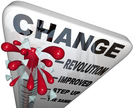 A thermometer marked Change measures the amount of changing and self improvement you successfully reach as you work toward achieving a goal