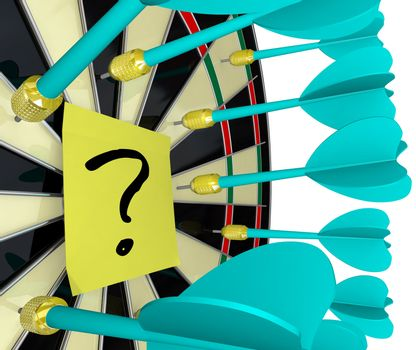 Several darts aim for but miss a yellow sticky note with a question mark written on it, symbolizing an unsuccessful hunt for answers to questions