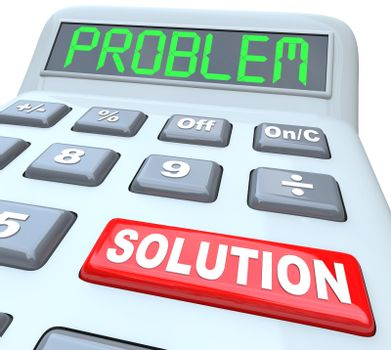 Problem and Solution words on a plastic calculator representing the solved financial or math question using an educational tool or financial assistance