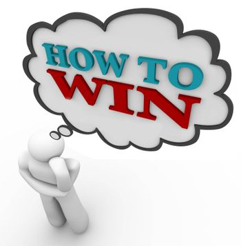 A person thinks of How to Win with words in a speech bubble, planning a strategy for winning a game, battle or business competition