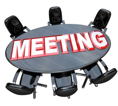 A black wood conference table with the word Meeting and several open chairs prepared for a gathering of important people to discuss a formal topic and negotiate