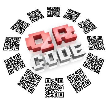 Several QR bardode square icons in a round pattern around the word QR Code representing new technology for you to gather information on products and services using devices like a smart phone
