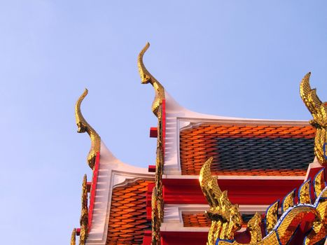 Temple roof in Bangkok Thailand