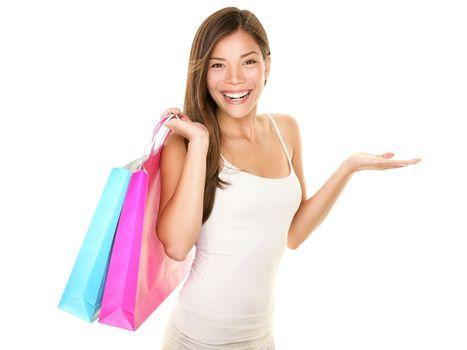 Shopping woman showing