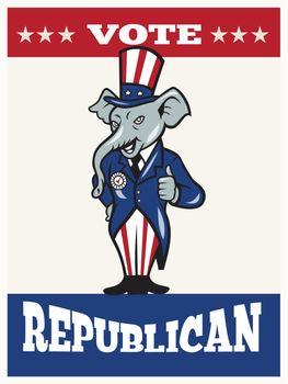 Republican Elephant Mascot Thumbs Up USA Flag