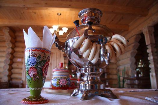 Russian tea drinking with samovar