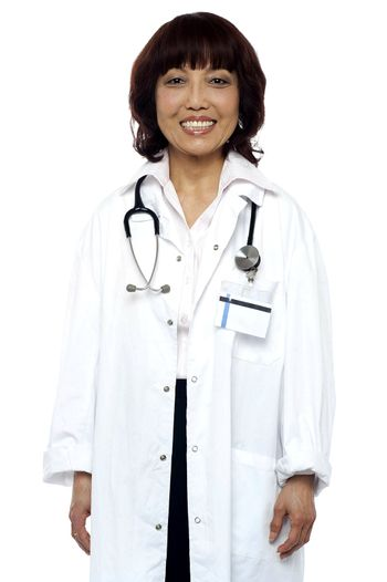 Experienced doctor with stethoscope around her neck