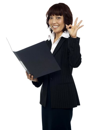 Lady consultant satisfied with the report