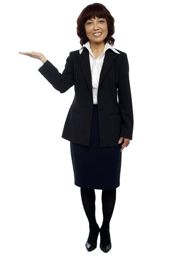 Businesswoman presenting copy space
