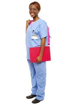 Junior female doctor under training