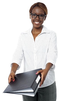 Confident female secretary submitting her binder