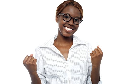 A female expressing her success. Yes, we did it!