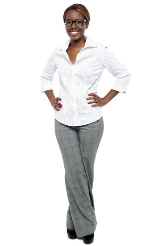 Elegant entrepreneur posing with hands on her waist