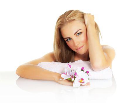 Attractive female in spa