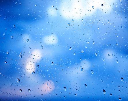 Window glass with raindrops