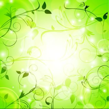 light green floral background with swirls