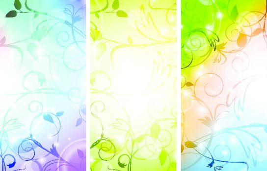 multicolored floral banner set over white background