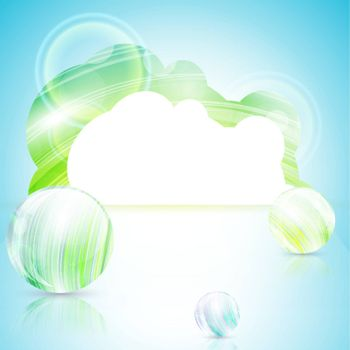 bright template with copyspace and abstract glossy balls