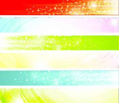 bright multicolored web banner set over white