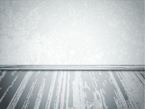 grey empty interior with wooden floor and copyspace