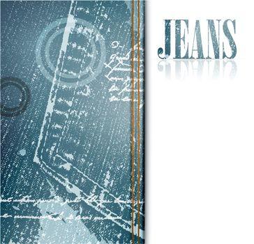 illustration of grunge jeans frame, copyspace