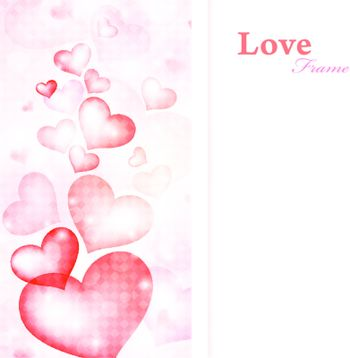 illustration of love frame with hearts and copyspace