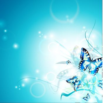 Bright butterfly background, copyspace for your text