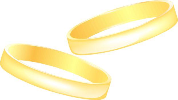 golden wedding rings over white background