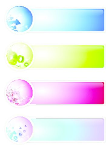 multicolored different banner set over white background, copyspace