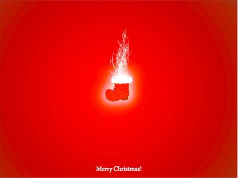 Christmas and New year wallpaper with magic Santa boot over red background