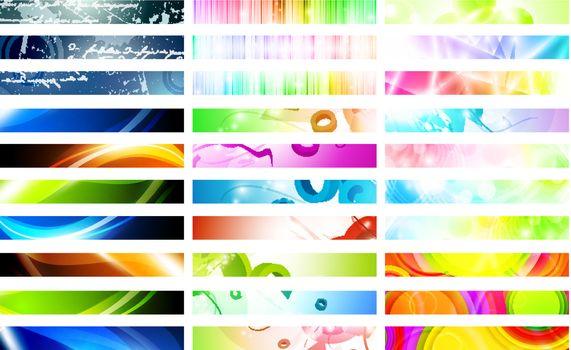 Mega pack of bright multicolored web banner set over white