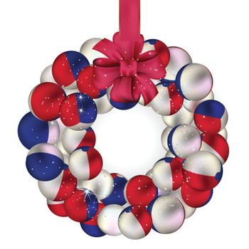 Christmas wreath decoration from French baubles on white