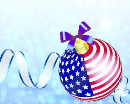 Christmas card decoration from USA baubles whit bokeh