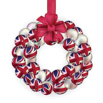 Christmas wreath decoration from United Kingdom baubles on white