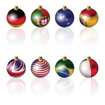 Isolated International Christmas balls on white background