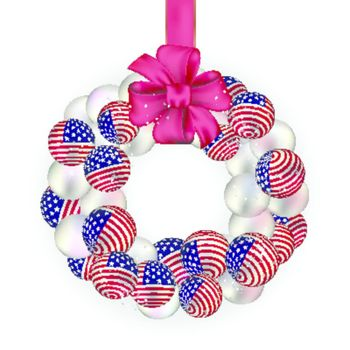 Christmas wreath decoration from USA baubles on white